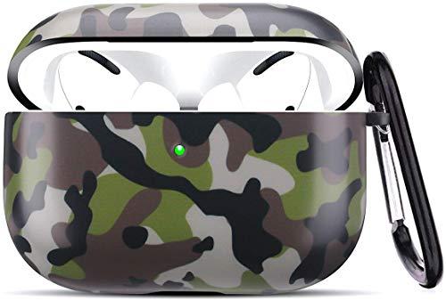 Cujas Schutzhülle kompatibel mit Apple AirPods Pro – Unterstützt kabelloses Laden – Mit praktischem Karabiner, Matte Oberfläche, Stoßfestes Hülle, Ideale Passform – Camouflage