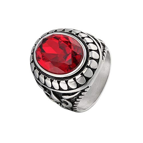 KnSam Anillo para hombre de acero inoxidable y titanio con grabado de patrón rojo