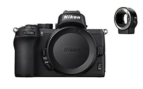 Nikon Z50 - Cámara DX Mirrorless, 11 FPS, Vídeo 4K, Pantalla Táctil abatible, Kit Cuerpo con adaptador FTZ