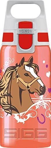 SIGG VIVA ONE Horses Kinder Trinkflasche (0.5 L), schadstofffreie Kinderflasche mit auslaufsicherem Deckel, einhändig bedienbare Trinkflasche für Kinder