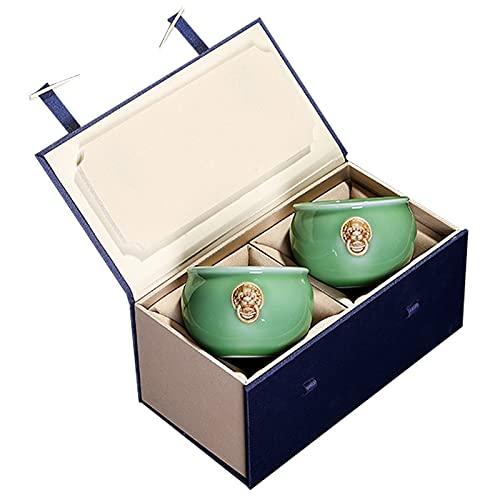 SCHSP 2 Piezas Juego de Tazas De Té De Cerámica De, Taza De Té Chino/japonés, Servicio De Té Chino Hecho A Mano Juego de Regalo Fácil de Limpiar y Mantener