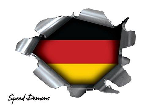 BITS4REASONS Speed Demons Pride Burst Rip Torn Reißfestigkeit Aufkleber Graphic, selbstklebend, für Jede Oberfläche inkl. Laptops und Autos–Deutsch Germany Deutschland National Flagge