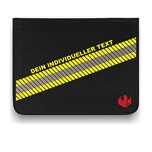 Roter Hahn 112 Personalisierbare Feuerwehr 3M Scotchlite Schreibmappe Freitext Organizer Konferenzmappe HUPF Design Reflex