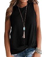 IWOLLENCE Womens Waffle Knit Tunic Casual Blouse Sleeveless Cute Twist Knot Tank Tops Black Large