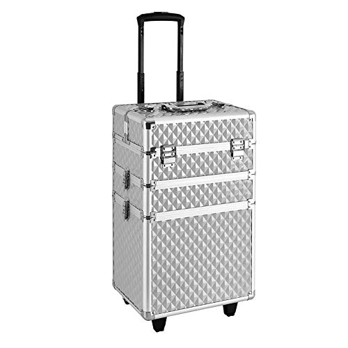Mondeer Makeup Trolley Case, Luggage Cosmetic Cases 3-in-1 Aluminium for Makeup Nail Beauty Salon Tattoo (Silver)