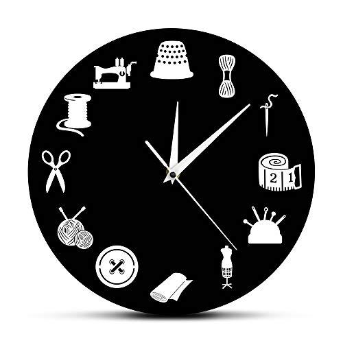ZYCLOCK Reloj de Pared DIY Decoración De La Sala De Costura Reloj...