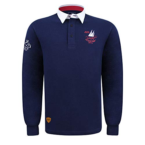 SAVALINO Men's Long Sleeve Polo Sailing Rugby Shirt with Twill Collar, Piquet Cotton, Sports & Leisure Wear Navy