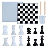 NEERIX International Chess Silicone Resin Molds, Classic Chess Checkers Board Game, Including Chess & Board & Stirring Rod, Perfect for DIY Family Party Game