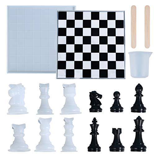 NEERIX Moldes de resina de silicona de ajedrez internacional, juego de mesa clásico de damas, incluye ajedrez y tablero y barra de agitación, perfecto para juegos de fiesta familiar