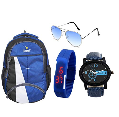 BLUTECH Fabric 30 LTR Blue Laptop Backpack+Analogue Watch Blue+Led Watch Blue Aviator