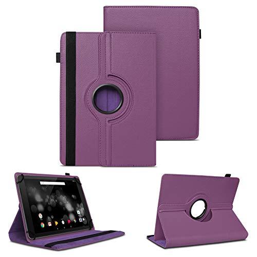 NAUC Tablet Schutzhülle für TrekStor Primetab P10 Hülle Tasche Standfunktion 360° Drehbar Cover Case Universal Schutzhülle, Farben:Lila