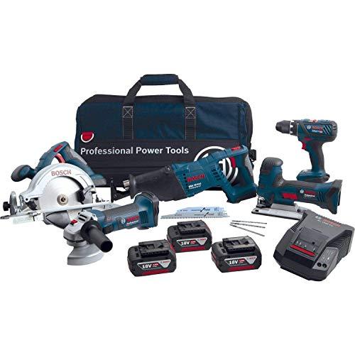 Bosch Professional 18V atornillador bat. GSR 18V-28+sierra calar GST 18V-LI S+amoladora ang. GWS -125V-LI+sierra circ. GKS 18 V-LI+sierra sable GSA 18V-LI (3 bat.)