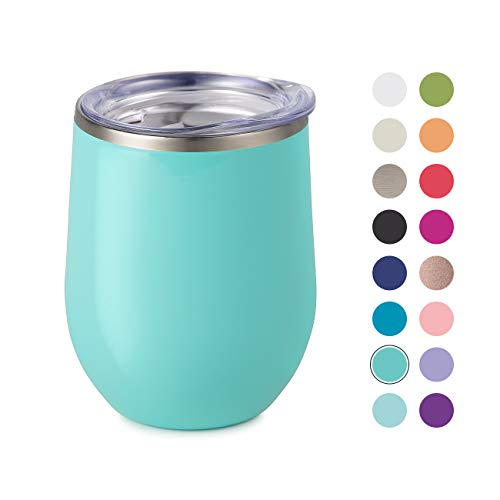 Maars Bev Stainless Steel Stemless Wine Glass Tumbler with Lid, Vacuum Insulated 12 oz Cup | Spill Proof, Travel Friendly, Fun Cocktail Drinkware - Mint