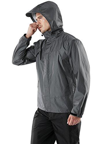 (テスラ)TESLAメンズレインウェアレインスーツレインコート上下セットアウトドア登山雨具MES11上:グレー/グレー下:ブラックS