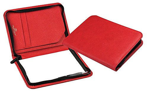 DELMON VARONE - Custodia da scrittura personalizzabile DIN A5 in similpelle rossa Saffiano, custodia organizer business con blocco note, passante per penna, tasche e cerniera