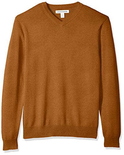 Amazon Essentials Men's V-Neck Sweater, Rust, Small
