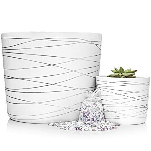 Silver Stripes Ceramic Pot Bundle - 12 Inch Large Planter and 6 Inch Medium Planter - Decorative Pebbles Included for The Small Flower Pot - Indoor or Outdoor Pots for Plants