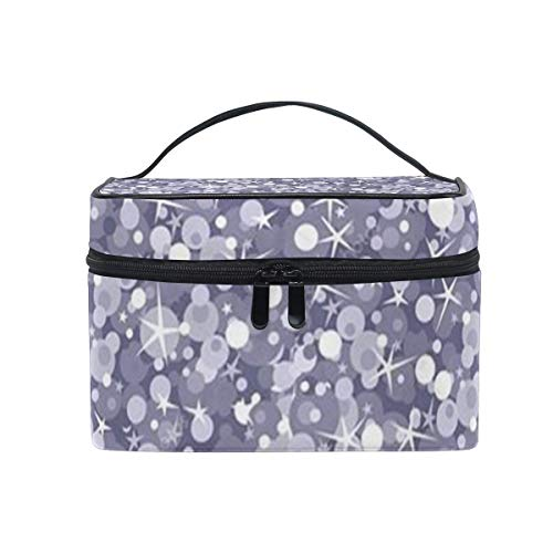 Trousse de maquillage Silver Sparkles Cosmetic Bag Portable Large Toiletry Bag for Women/Girls Travel