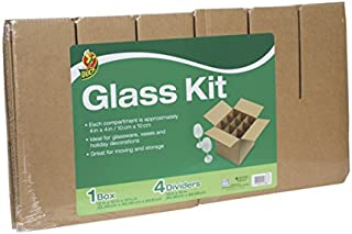 Duck Brand Glass Kit, Includes 4 Corrugate Dividers and One 12 x 12 x 12 Inch Box (283613)