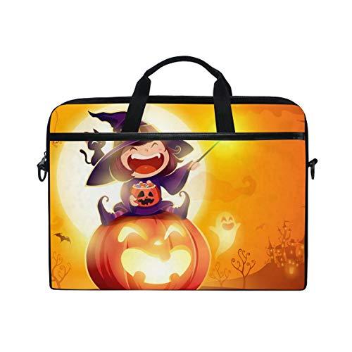 DOSHINE Laptop Bag Case Sleeve Halloween Witch Pumpkin Notebook Computer Bag for 14-14.5 inch Adjustable Shoulder Strap, Back to School Gifts for Men Women Boy Girls