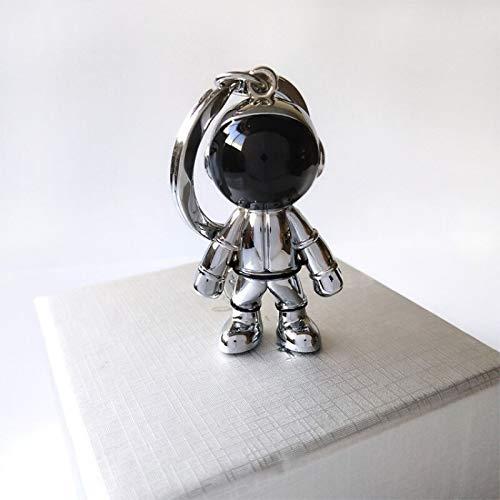 Llavero de aleación hecho a mano en 3D con diseño de astronauta espacial y robot espacial (color: plata)
