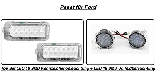 Top Set LED 18 SMD Rund Umfeldbeleuchtung + LED 18 SMD Kennzeichenbeleuchtung (7909)