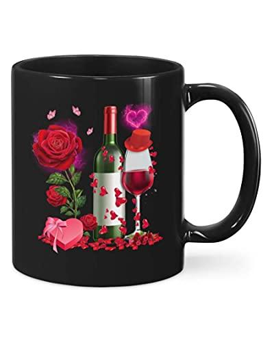 N\A Taza de San Valentín con Rosa de Vino, Regalos de Feliz día de San Valentín para Amantes de la Pareja, cumpleaños, Aniversario de Acción de Gracias, café de cerámica, 11 onzas