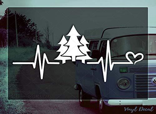 Calcomanía de vinilo con diseño de latido del bosque – VRS – Ventana del coche / Parachoques portátil nevera calcomanía para cabina, senderismo, abeto, pino natural