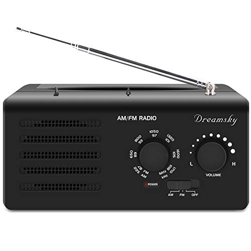 DreamSky Portable AM FM Radio AC Outlet Powered D Size Battery Operated, Transistor Radios with Great Reception, Clear Loud Sound, Headphone Jack, Gifts for Elderly Senior