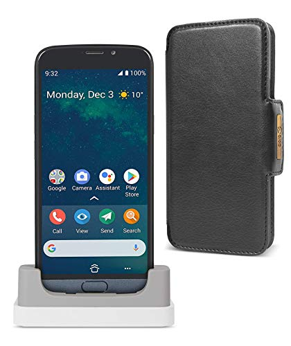 """Doro 8050 Paquete: Smartphone 4G Ideal para Mayores con Display de 5.4"""", Cámara de 13 MP, Whatsapp y Botón de Asistencia con GPS + Base de Carga + Funda (Gris) [Versión Española y Portuguesa]"""