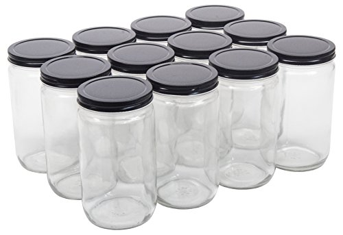 North Mountain Supply 32 Ounce Quart Straight Sided Wide Mouth Canning Jars - with Black Metal Lids - Case of 12