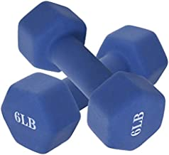 Hex Dumbbell Weights, Neoprene Coated Exercise & Fitness Dumbbell for Home Gym Equipment Workouts Strength Training Free Weights for Women, Men (6, 8, 10, 12, 15 Pound) (Blue, 8 Pound)