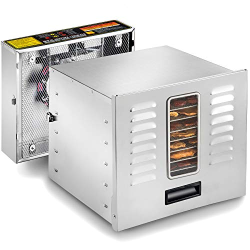 STX International STX-DEH-1200W-XLS Dehydra Commercial Grade Stainless Steel Digital Food Dehydrator - 10 Trays - 1200 Watts - 165 Degree Fahrenheit - Jerky Safe with 15 Hour Timer