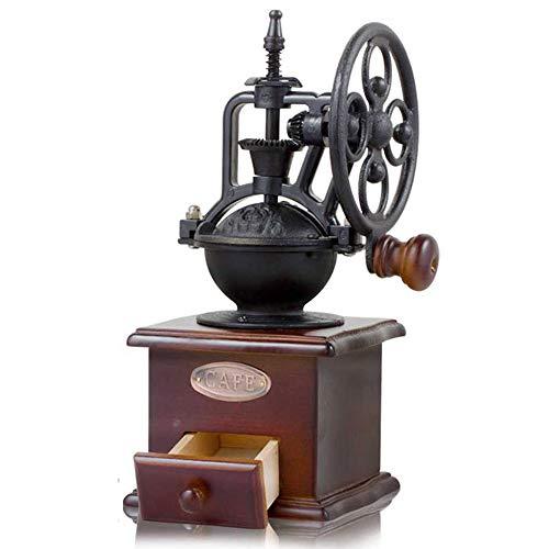 Handmatige koffiemolen, oude antieke stijl houten koffiemolen, walsmolen, handmatige koffiemolen, windwiel, handmatige koffiemolen