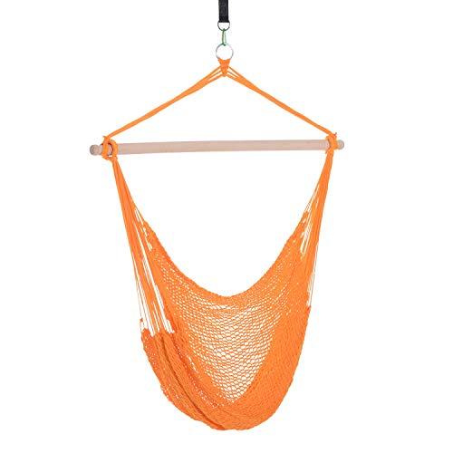 miozzi Amaca Sedia Poltrona Sospesa da Giardino Supporto in Legno Arancione 100x130 cm