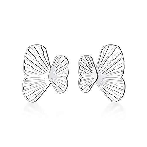 Vvff Pendientes De Botón De Mariposa Huecos Geométricos De Insectos De Plata Para Mujer, Regalo De Fiesta De Boda