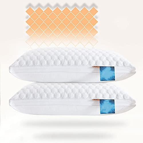 BeAUZQ Juego de 2 Almohadas de Cama antibacterianas y antiácaros para Dormir, Paquete de 2 Almohadas de la colección de hoteles de Lujo, Almohada hipoalergénica para Personas Que Duermen,Queen