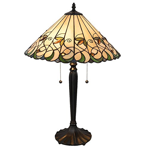 Lumilamp 5LL-5206 tafellamp tafellamp Art Deco Tiffany stijl natuur/groen Ø 43 * 62 cm / E27 / max. 2x60 Watt decoratief kleurrijk glas Tiffany stijl handgemaakt glazen scherm