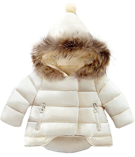 Jojobaby Baby Boys Girls Hooded Snowsuit Winter Warm Fur Collar Hooded Down Windproof Jacket Outerwear (6-12 Months, Beige)
