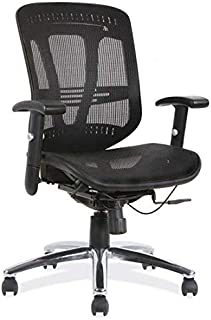 OfficeSource Mid Back Office Task Chair with Arms, Breathable Black Mesh Back, Black Upholstered Seat, Chrome Frame, Built in Lumbar Support (18921BLK)