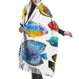 Bufanda de chal para mujer Patrón sin costuras con peces tropicales Acuarela con acuario dibujado a mano Peces exóticos en blanco Chal Bufanda Capa grande, suave y acogedor Bufanda de cachemira Abrig
