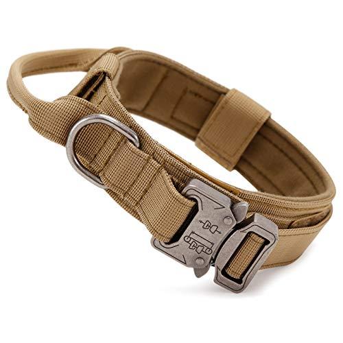 Huntvp Collar Táctico para Perros con Mango de Control, Ajustable Collar de Nailon con Hebilla de Metal, para Perros Medianos Grandes Caza Al Aire Libre Entrenamiento, Marrón-M