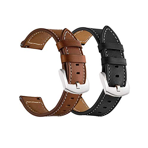 Yeejok Vivoactive 3 Leather Watch Bands for Men Women, 20mm Quick Release Genuine Leather Straps with Silver Metal Buckle Compatible for Garmin Vivoactive 3 Music/Forerunner 645/245 Smartwatch, 2 Pack