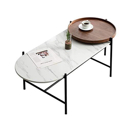 inChengGouFouX Mesa de sofá Nórdica Minimalista Mesa de Escritorio de mármol Oficina Mesa de café de café Acento Mesa de café con pies metálicos Mesa Auxiliar de café para el Hogar