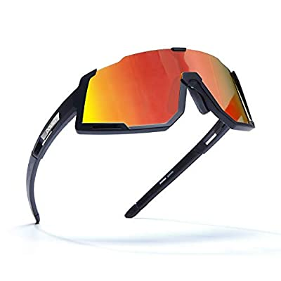DOVAVA Polarized Sports Sunglasses UV400 Protection for Men and Women, TR90 Frame with 3 Interchangeable HD Clear Lenses, Red-Black