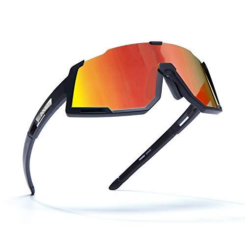 DOVAVA Fahrradbrille Herren Damen Sportbrille polarisiert, Sonnenbrille Fahrrad UV400-Schutz und Tr90 Superlight Frame,mit 3 Wechselgläser (Rot)