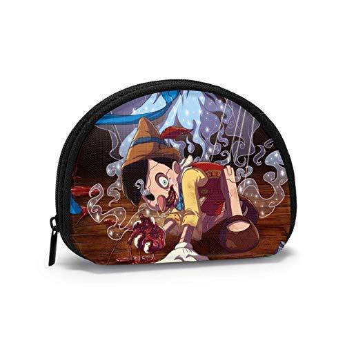 Pino-cchio Cartoon-Münzgeldbörse für Damen und Herren, modische kleine Geldbörse, tragbare Muschel-Aufbewahrungstasche, Schmuckbeutel, Schlüsselhalter, Kopfhörer, multifunktionale Taschen