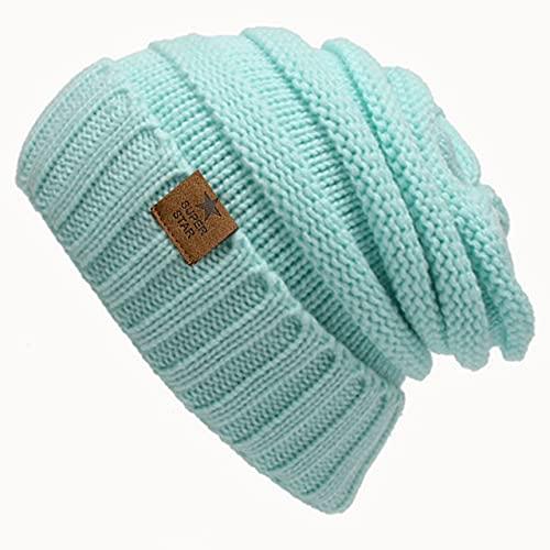 Chapeaux d'Hiver Chaud Dame Chapeau d'Hiver pour LesFemmes Girl « S Bonnet tricoté Chapeau Bonnet épais femmes'SBeanies-Sky Blue