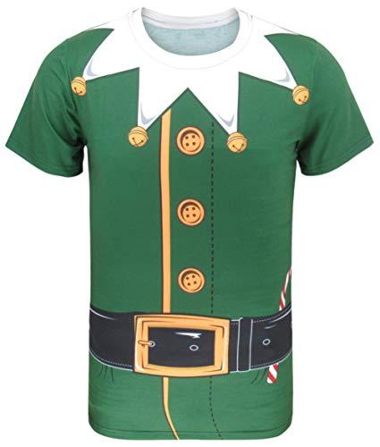 COSAVOROCK T-Shirts Costume da Natale Elfo Uomo (L, Verde-2)