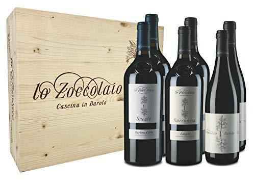 Lo Zoccolaio 2 Langhe Chardonnay + 2 Piemonte Rosso + 2 Barbera d'Alba Vino Tinto Italiano en Estuche de Madera - 6 Botellas X 750ml